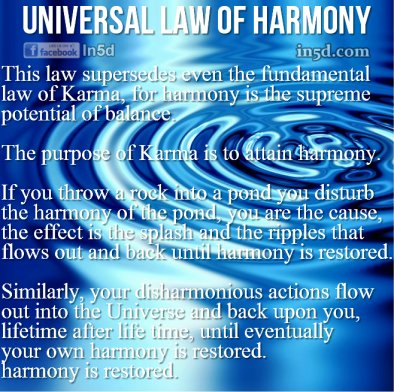 The Universal Law of Harmony