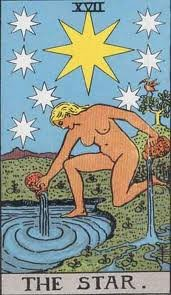 Which tarot card represents Aquarius?: The Rider-Waite-Smith star card, numbered seventeen