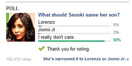 This poll about what Snooki should name her child.