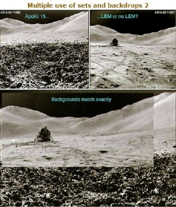 Another anomaly was uncovered during the Apollo 15 mission where the same, identical background was used for two different pictures in which NASA claimed were miles apart from one another: