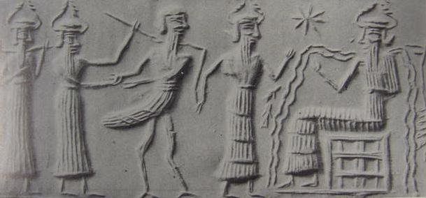 In the above cylinder seal from 2340-2180 B.C., Sumerian god Enki is seated on his throne with two streams of water erupting from his shoulders. A captured 'Zu-bird' is led before him for an alleged judgment and execution of sentence. Notice the size of the seated Enki.