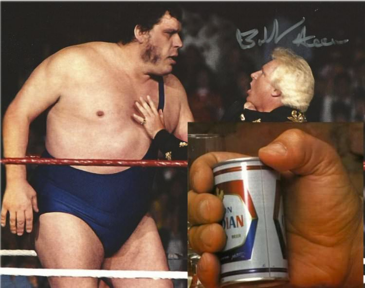 In professional wrestling, Andre the Giant's hand size was measured at 16 inches (40.6 centimeters) and wore a shoe size of 24.