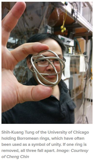Shih-Kuang Tung of the University of Chicago holding Borromean rings, which have often been used as a symbol of unity. If one ring is removed, all three fall apart. Image: Courtesy of Cheng Chin