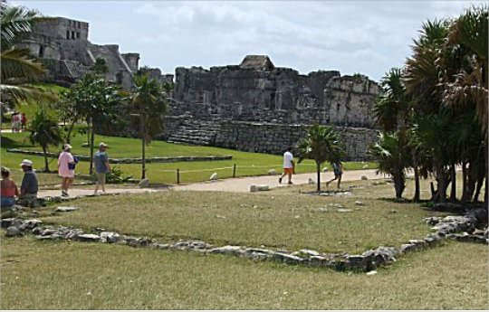 "Tulum, the City of Dawn, also means ""walled place"" and was used as a port for commercial activity. The city is walled on 3 sides with the final side facing the sea. The foundations that remain were houses for the nobility."