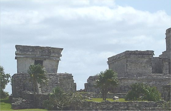 The main Tulum temple (to the right) is also angled.