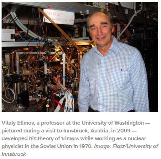 Vitaly Efimov, a professor at the University of Washington — pictured during a visit to Innsbruck, Austria, in 2009 — developed his theory of trimers while working as a nuclear physicist in the Soviet Union in 1970. Image: Flatz/University of Innsbruck