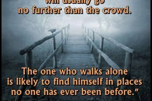 The one who follows the crowd will usually go no further than the crowd