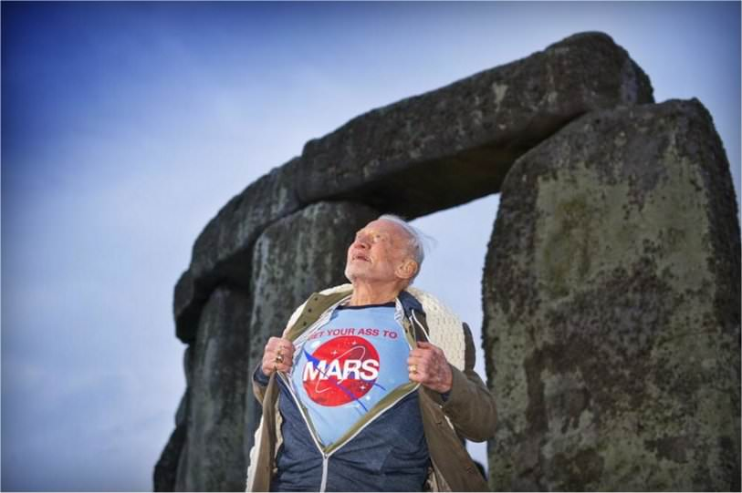 "Why Did Astronaut Buzz Aldrin Wear A T-Shirt In Front of Stonehenge Saying, ""Get Your Ass To Mars?"" in5d"