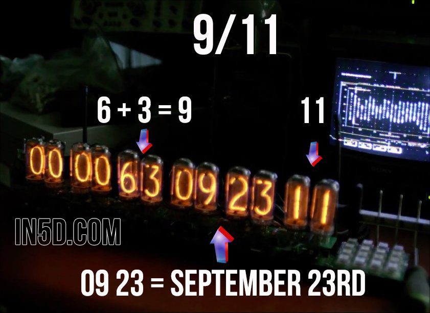 "The mainstream media is hyping some big activity to occur in September of 2015 and has been cleverly hiding their dates in the theater. For example, in the movie, ""Tommorowland"", there is a countdown clock which on several occasions showed different variations of the numbers 9/11 along with the date of September 23rd. Below is on such variation:"
