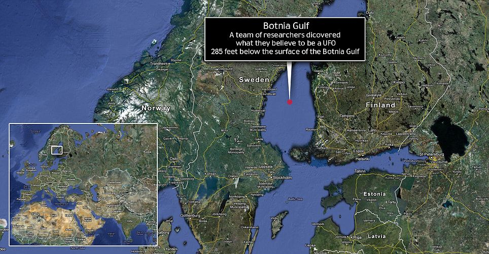 Landing spot: The exact coordinates of the object have not been released, but it is confirmed to be somewhere at the bottom of the Botnia Gulf in the Baltic Sea between Finland and Sweden
