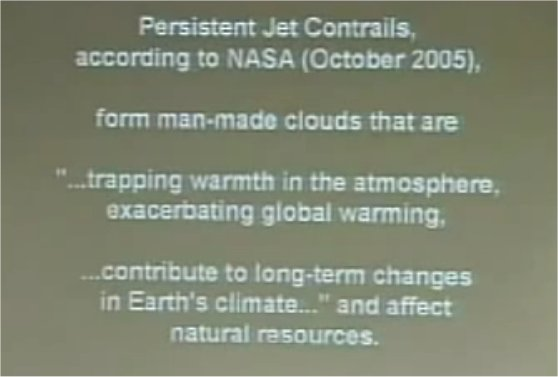 "One of the slide Peterson presented to the United Nation showed the acknowledgement of chemtrails by NASA, calling them ""Persistent Jet Contrails""."