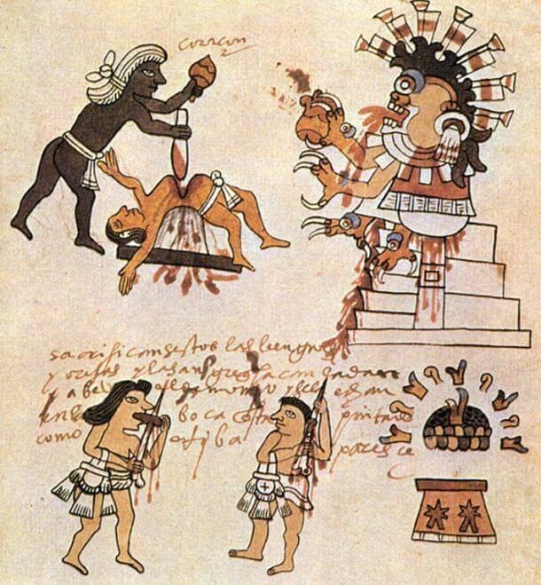 Aztec sacrifice rituals (public domain)
