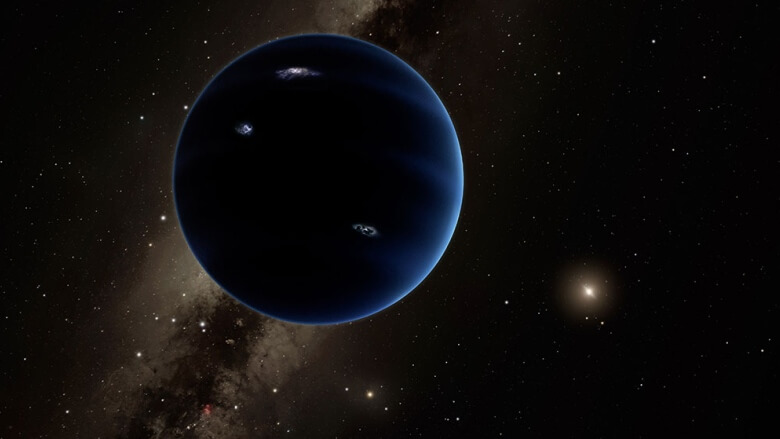 This artist's rendering shows the distant view from Planet Nine back towards the sun. The planet is thought to be gaseous, similar to Uranus and Neptune. Hypothetical lightning lights up the night side. (R. Hurt/IPAC/Caltech/)