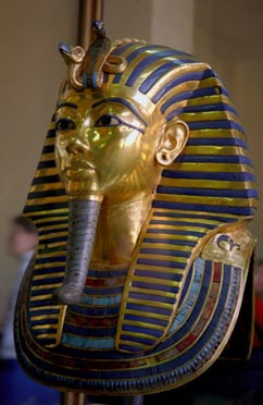 The Royal Cobra (Uraeus) on the mask of Tutankhamun represented a protector goddess, and not a curse. (Wikipedia)