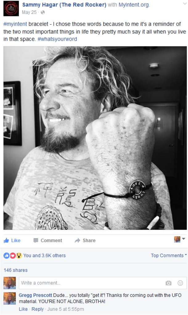 "On Sammy's Facebook page, there is a picture of him wearing a Love & Light bracelet. He stated, ""#‎myintent‬ bracelet - I chose those words because to me it's a reminder of the two most important things in life they pretty much say it all when you live in that space""."