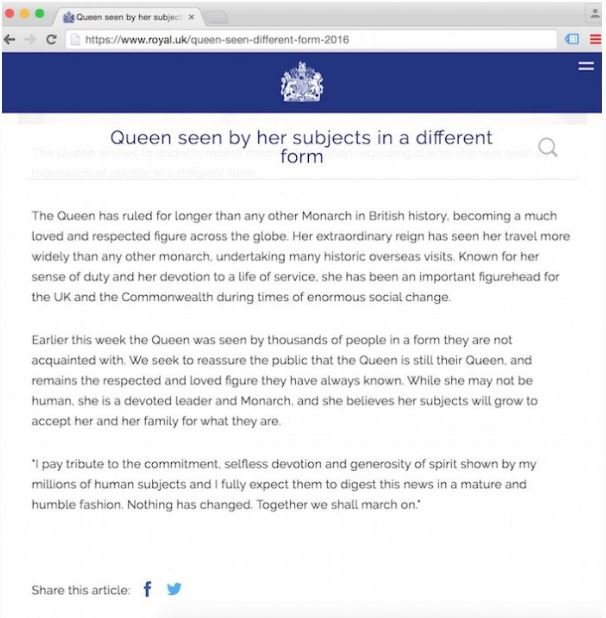 "SCRUBBED FROM THE NET! Queen Elizabeth's Staff Says She's ""Not Human"" - Screenshots Prove it!"