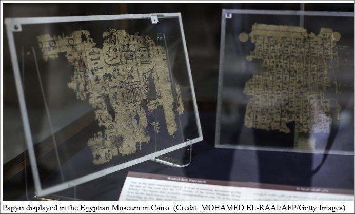 Papyri displayed in the Egyptian Museum in Cairo