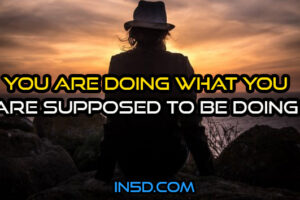 You Are Doing What You Are Supposed To Be Doing