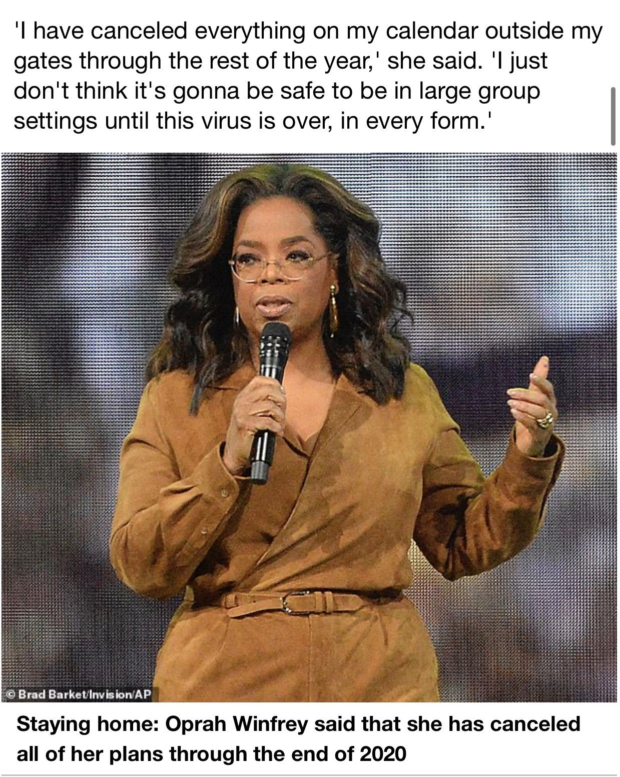 Speaking of Oprah, she looks like she's going underground, no pun intended