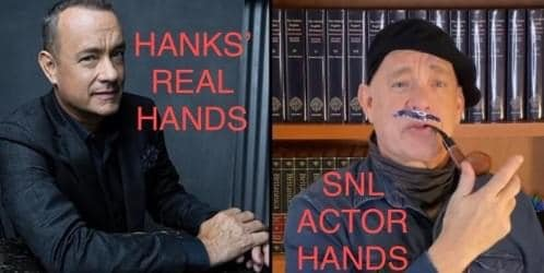 Tom Hanks did NOT host Saturday Night Live.. He was too dead to make it. Or he had a hand transplant??