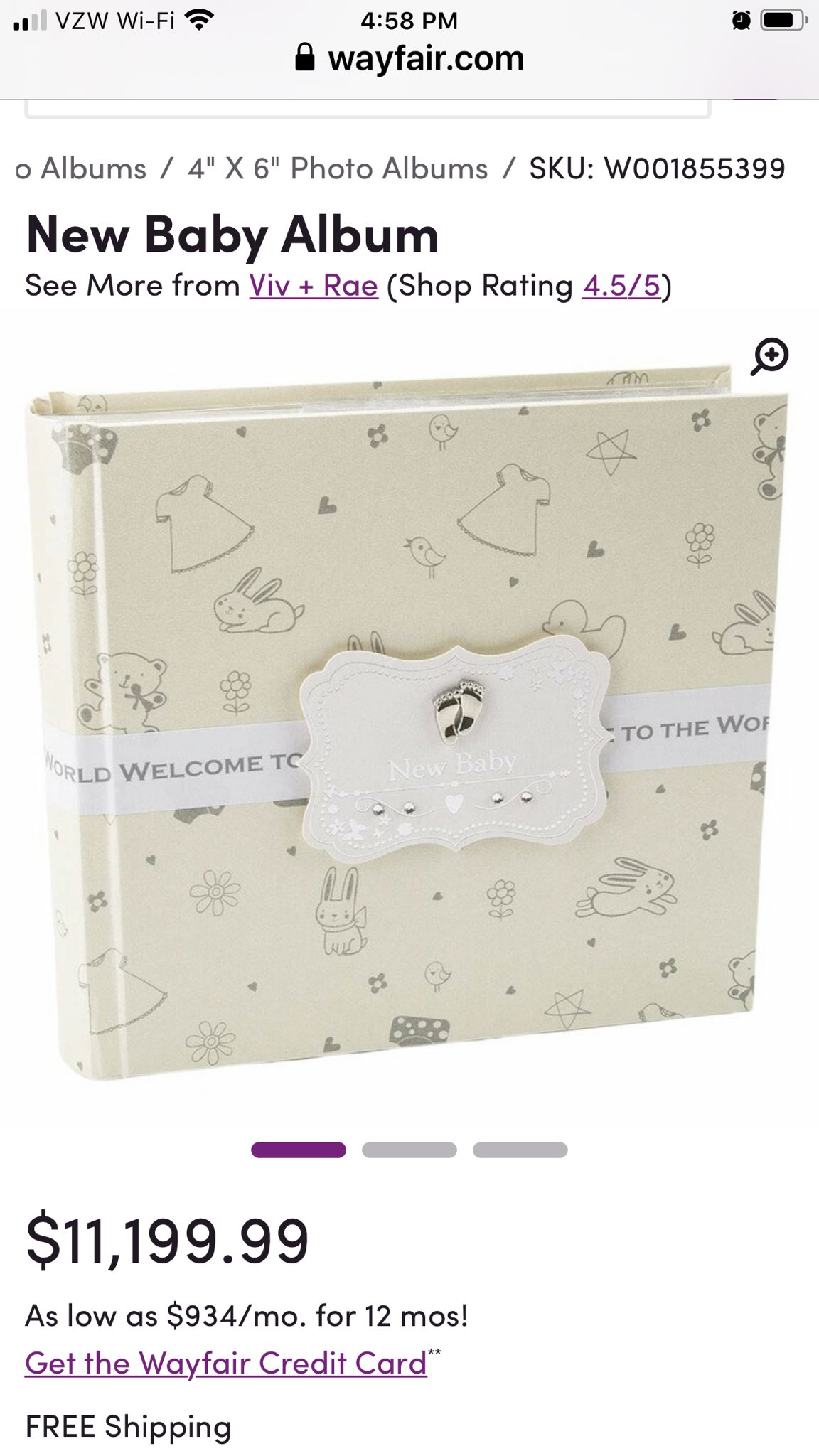 A baby album for $11,199.99