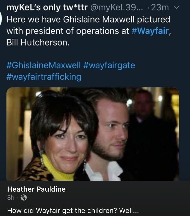 Here is an interesting connection.  It's a photo of Ghislaine Maxwell with Wayfair's Bill Hutcherson, President of Operations: