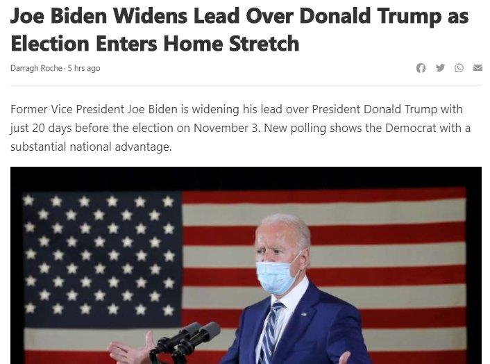 Joe Biden Widens Lead Over Donald Trump