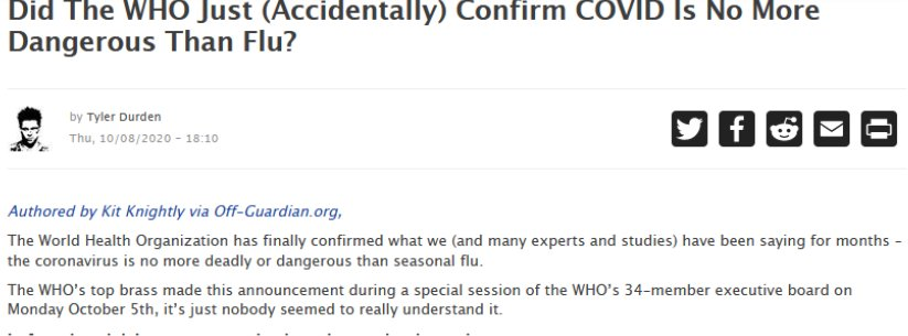Did The WHO Just (Accidentally) Confirm COVID Is No More Dangerous Than Flu?